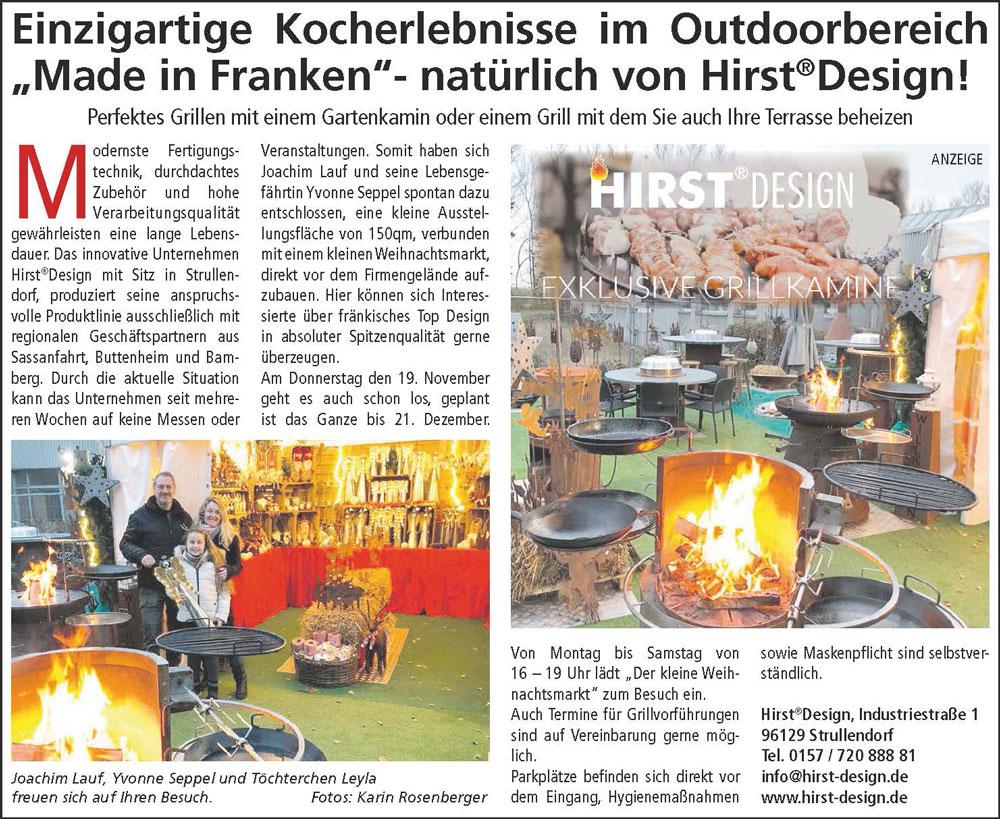 Grill-Kocherlebnisse und Weihnachtsmarkt bei Hirst Design