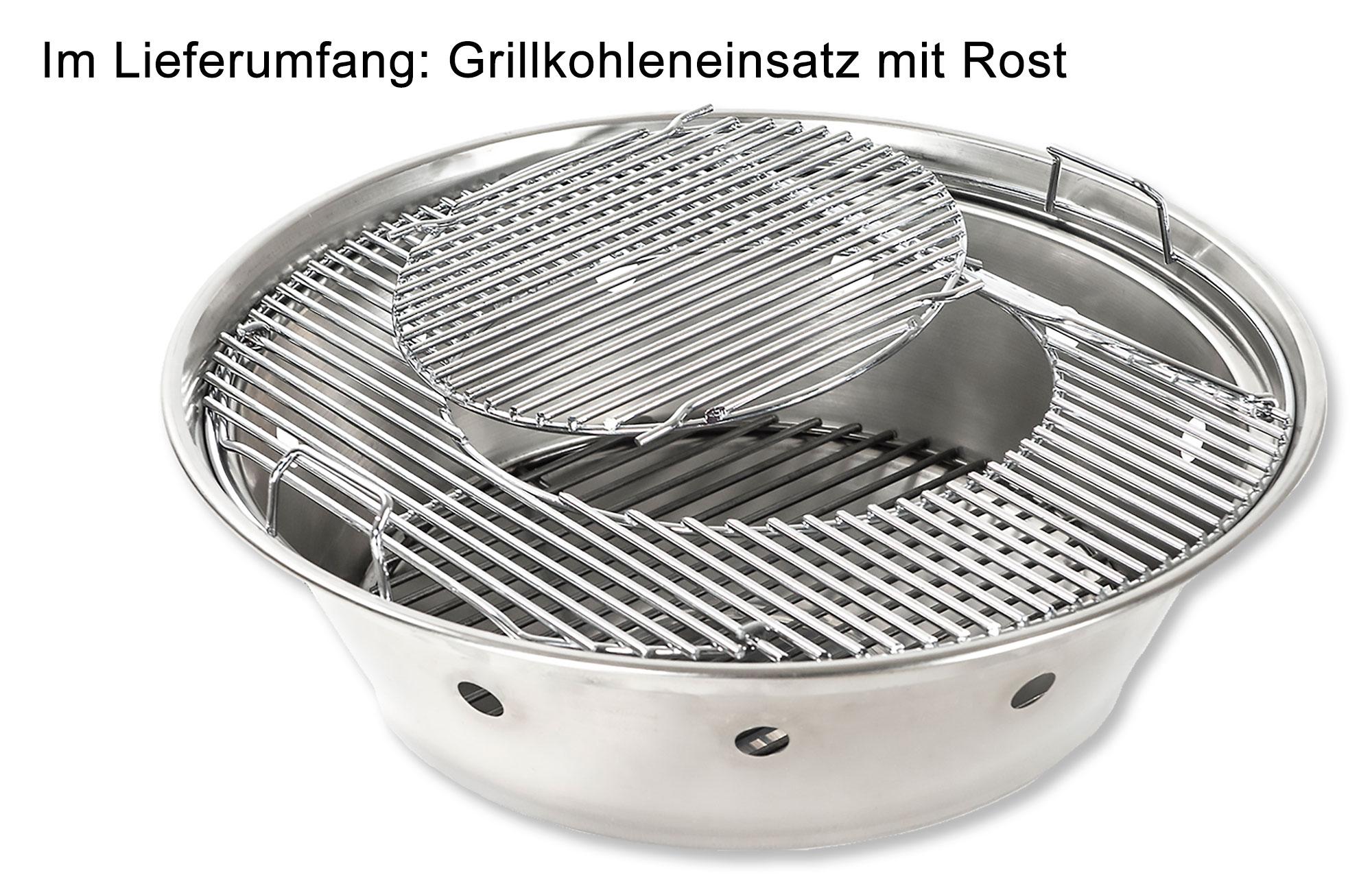 Hirst Grilltisch Edelstahl Stehtisch Grillkohleeinsatz